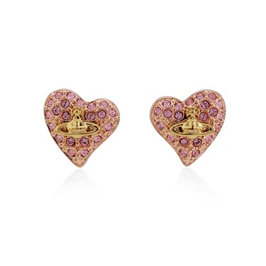 Vivienne Westwood Tiny Crystal Gold Heart Earrings   - Click to view larger image