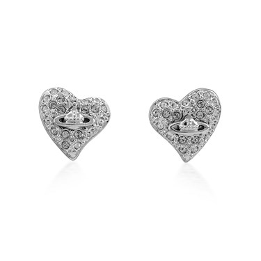 Vivienne Westwood Tiny Crystal Silver Heart Earrings   - Click to view larger image