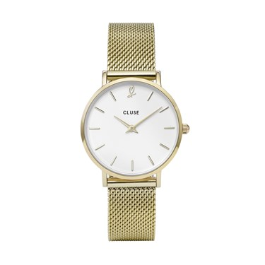 CLUSE Minuit Heart Gold Mesh Watch and Bracelet Gift Box  - Click to view larger image