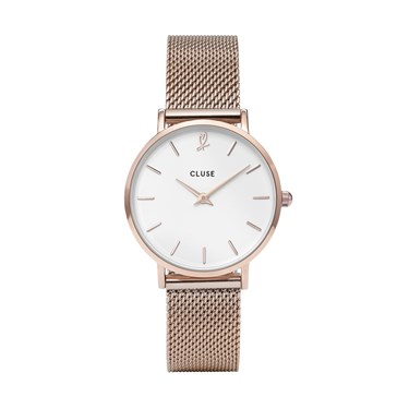 CLUSE Minuit Heart Rose Gold Mesh Watch and Bracelet Gift Box  - Click to view larger image