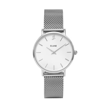CLUSE Minuit Heart Silver Mesh Watch and Bracelet Gift Box  - Click to view larger image