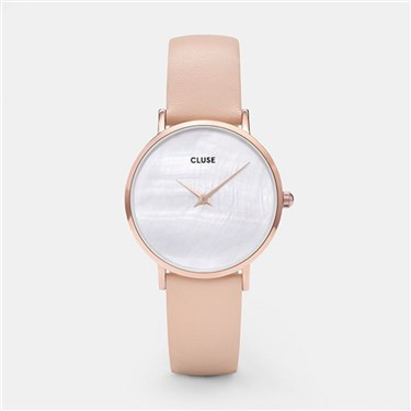 CLUSE Minuit La Perle Rose Gold Nude Leather Watch  - Click to view larger image