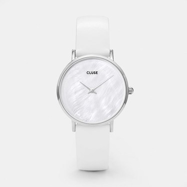 CLUSE Minuit La Perle Silver White Leather Watch  - Click to view larger image