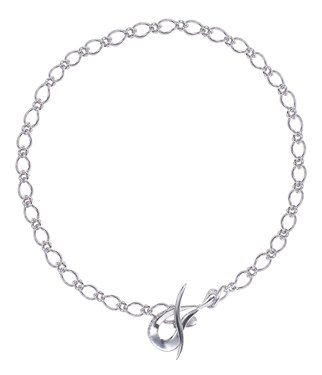Argento Silver Hoop Link Necklace