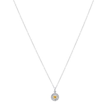 Karma Mixed Metal Heart Disc Necklace  - Click to view larger image