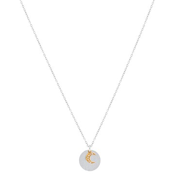 Karma Mixed Metal Moon Disc Necklace  - Click to view larger image