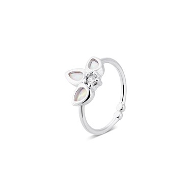 Karma Silver Opals Adjustable Ring  - Click to view larger image