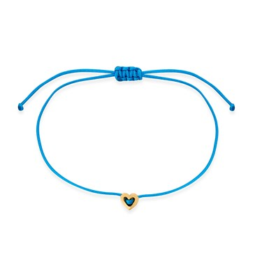 Karma Gold Heart Blue Pull Bracelet  - Click to view larger image