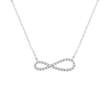 Karma Silver Infinity Necklace  - Click to view larger image