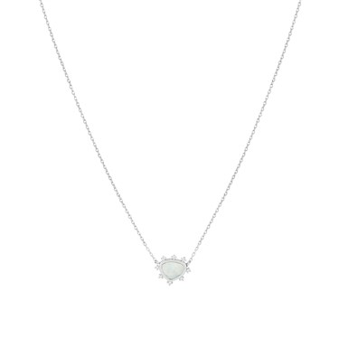 Karma Silver Lotus Necklace  - Click to view larger image