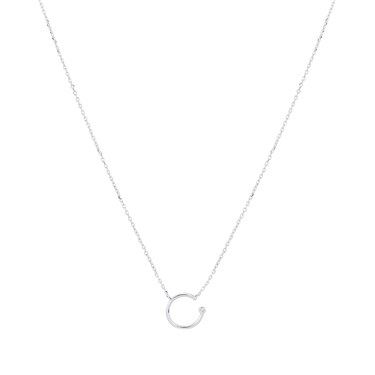 Karma Silver Open Circle Necklace  - Click to view larger image