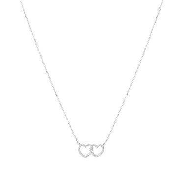 Karma Silver Rope Double Hearts Necklace  - Click to view larger image