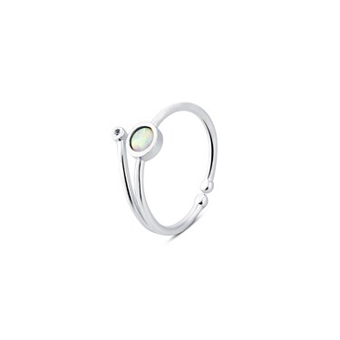 Karma Silver Opal Adjustable Ring   - Click to view larger image
