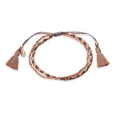 Karma Rose Gold + Grey Tassel Bracelet