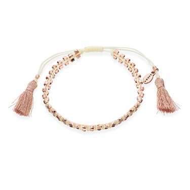 Karma Rose Gold + White Tassel Bracelet   - Click to view larger image