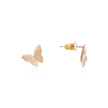 Karma Rose Gold Butterfly Stud Earrings  - Click to view larger image