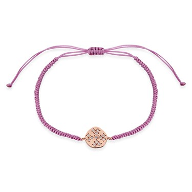 Karma Rose Gold Crystal Disc Purple Pull Bracelet  - Click to view larger image