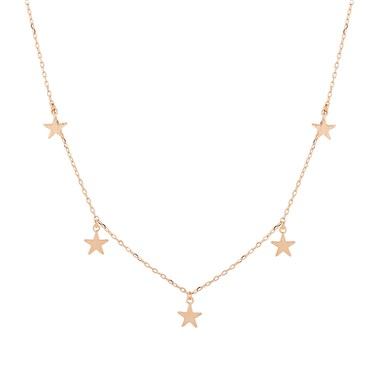Karma Rose Gold Five Drop Stars Necklace  - Click to view larger image