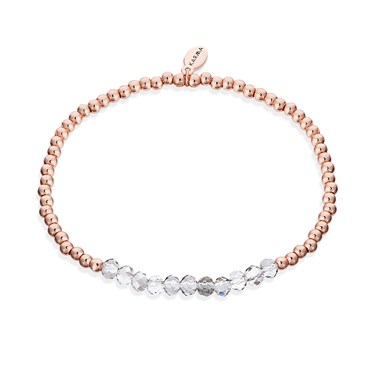 Karma Rose Gold + Clear Stretch Bracelet   - Click to view larger image