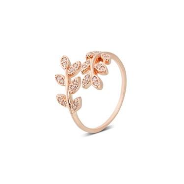 Karma Rose Gold Vines Adjustable Wrap Ring  - Click to view larger image