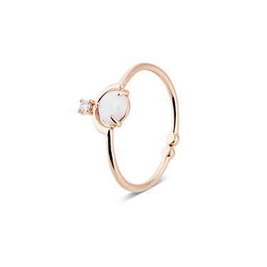 Karma Rose Gold Opal Adjustable Ring  - Click to view larger image