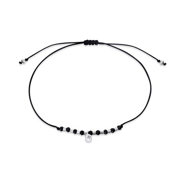 Karma Black & Silver Beads Pull Bracelet  - Click to view larger image