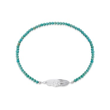 Karma Silver Feather Turquoise Bead Bracelet  - Click to view larger image