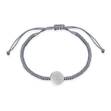 Karma Silver Pave Circle Pull Bracelet  - Click to view larger image