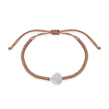 Karma Silver Pave Heart Pull Bracelet  - Click to view larger image