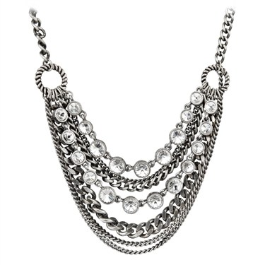Karma Layered Chain Crystal Necklace