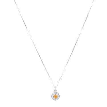 Karma Mixed Metal Sun Disc Necklace  - Click to view larger image