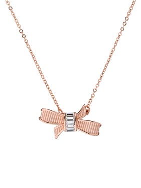 Ted Baker Dameka Rose Gold Ribbon Bow Crystal Necklace  - Click to view larger image