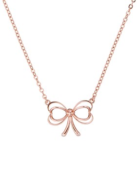 Ted Baker Lahri Rose Gold Mini Heart Bow Crystal Necklace  - Click to view larger image