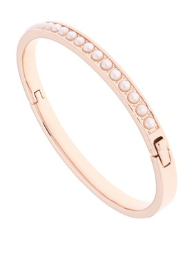 Ted Baker Clemara Rose Gold White Pearl Hinge Bangle  - Click to view larger image