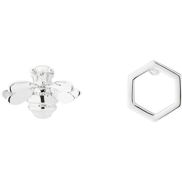 Ted Baker Bellema Brushed Silver Bumble Bee Stud Earring  - Click to view larger image