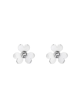 Ted Baker Hadaya Silver Heart Blossom Crystal Stud Earring  - Click to view larger image