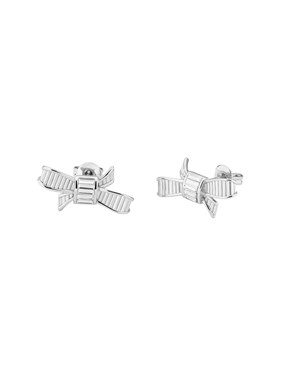 Ted Baker Dameka Silver Ribbon Bow Stud Earring  - Click to view larger image