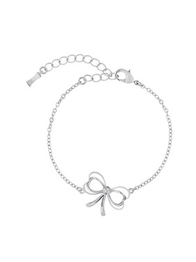 Ted Baker Lahri Silver Mini Heart Bow Crystal Bracelet  - Click to view larger image