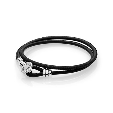 Pandora Moments Black Double Leather Bracelet  - Click to view larger image