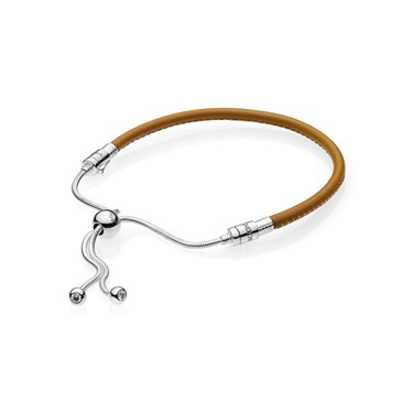 87066f050 Pandora Moments Sliding Golden Tan Leather Bracelet - Click to view larger  image