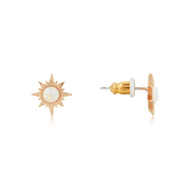 Dirty Ruby Rose Gold Opal Sun Stud Earrings  - Click to view larger image