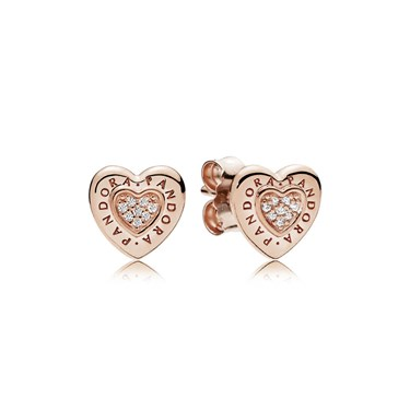 Pandora Signature Heart Stud Earrings  - Click to view larger image