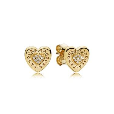 Pandora Signature Heart Stud Earrings, PANDORA Shine  - Click to view larger image