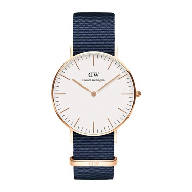 Daniel Wellington Bayswater White 36mm Rose Gold Watch  - Click to view larger image