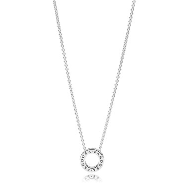 PANDORA Silver Logo Reversible Necklace  - Click to view larger image