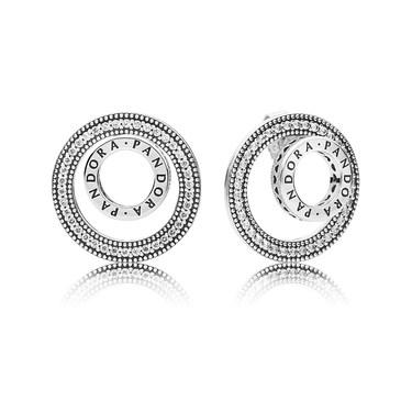 PANDORA Silver Forever Signature Stud Earrings  - Click to view larger image