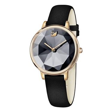 Swarovski Crystal Lake Black & Rose Gold Watch  - Click to view larger image