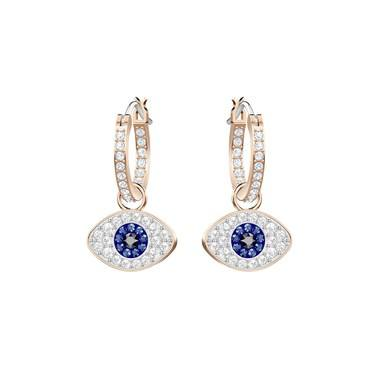 Swarovski Duo Evil Eye Hoop Earrings  - Click to view larger image