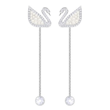 Swarovski Iconic Swan Pearl Drop Earrings  - Click to view larger image