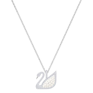 Swarovski Iconic Swan Large Pearl Necklace  - Click to view larger image